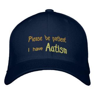 Autismmedvetenhethatt med namn och telefon på broderad baseball keps