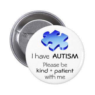 Autismmedvetenhetslag klämmer fast - knäppas standard knapp rund 5.7 cm