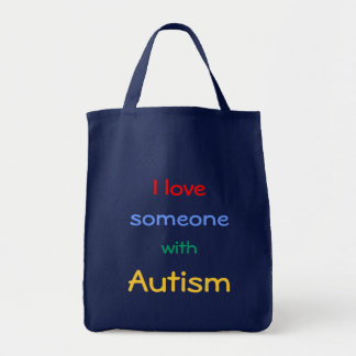 Autismmedvetenhettotot hänger lös mat tygkasse