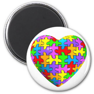 Autismpusselhjärta Magnet Rund 5.7 Cm