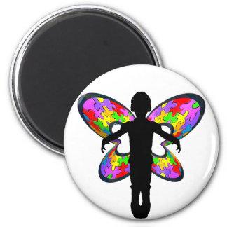 Autistic fjärilsband magnet rund 5.7 cm