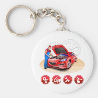 Auto mekaniker rund nyckelring