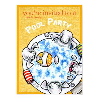 Pool Party Bikini Manatees Off-Leash Art™ Yellow