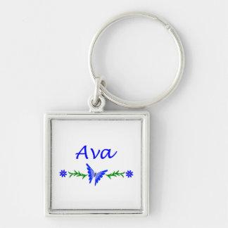 Ava (blåttfjäril) fyrkantig silverfärgad nyckelring