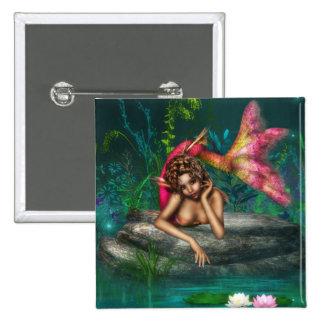 Ava den rosa sjöjungfrun standard kanpp fyrkantig 5.1 cm