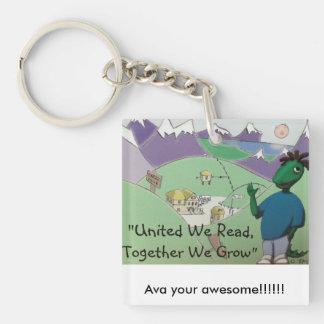 Ava din fantastisk!! fyrkantigt dubbelsidigt nyckelring i akryl