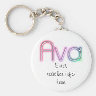 Ava namn brickanyckelring rund nyckelring