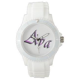 Ava namn, logotyp, Watch. för damvitsportar Armbandsur