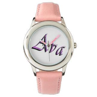 Ava namn, logotyp, Watch. för flickarosaläder Armbandsur
