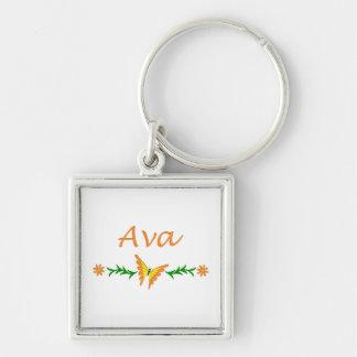 Ava (orange fjäril) fyrkantig silverfärgad nyckelring