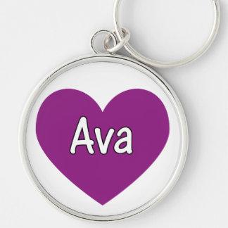 Ava Rund Silverfärgad Nyckelring