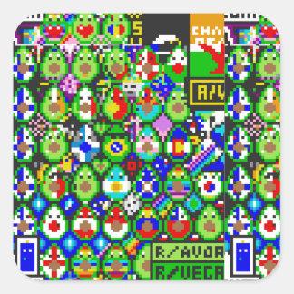Avacado konst från /r/place fyrkantigt klistermärke