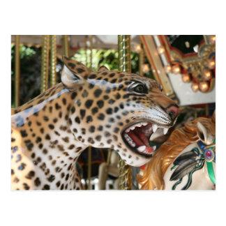 Avbildar det djura jaguarhuvudet för karusellen vykort
