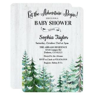 Äventyr börjar baby showerinbjudan 12,7 x 17,8 cm inbjudningskort