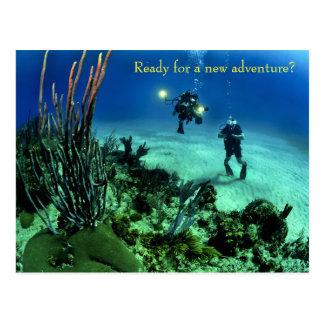 Äventyr för dykning för djupt hav för back to vykort