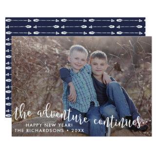 Äventyr skrivar fotokortet för det nya året 12,7 x 17,8 cm inbjudningskort