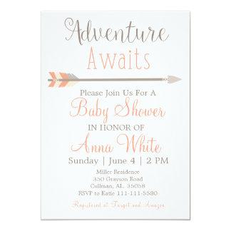 Äventyr väntar på baby showerinbjudan 12,7 x 17,8 cm inbjudningskort