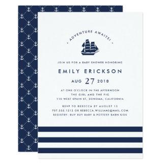 Äventyr väntar på | nautisk baby showerinbjudan 12,7 x 17,8 cm inbjudningskort