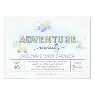 Äventyr väntar på reser baby showerinbjudan 12,7 x 17,8 cm inbjudningskort