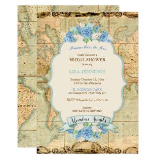 Äventyr väntar på vanlig hortensia för blått för 12,7 x 17,8 cm inbjudningskort