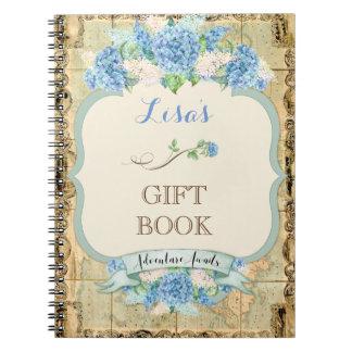 Äventyr väntar på vanlig hortensia för blått för anteckningsbok
