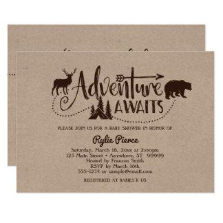 Äventyr väntar på vildmarkbaby showerinbjudan 12,7 x 17,8 cm inbjudningskort