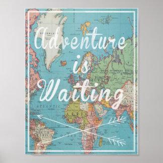 Äventyr väntar på vintagevärldskarta poster