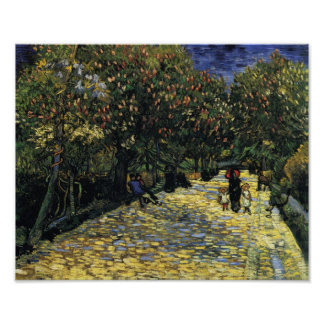 Aveny med kastanjebruna träd på Arles, Van Gogh Poster