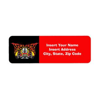 Avery för tävlings- bilar etikett returadress etikett