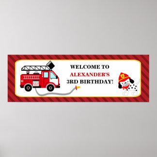 Avfyra banret för lastbilbrandmanfödelsedagsfesten poster