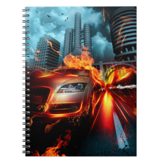Avfyra bilfantasianteckningsboken spiral anteckningsbok