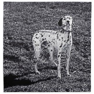Avfyra den Dalmatian hunden för huset i svartvitt Tygservett