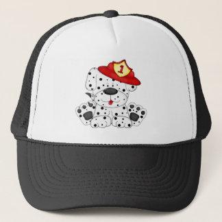 Avfyra hunden Dalmation och hatten Keps