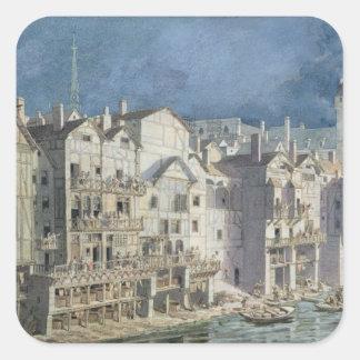 Avfyra på Ponten hjälpMeuniers i 1621 Fyrkantigt Klistermärke