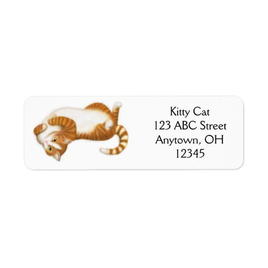 Avkopplad ljust rödbrun tabby kattetikett returadress etikett