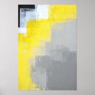 """""""Avlägsen"""" abstrakt konst för grå färg och för Poster"""