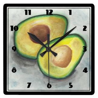 Avokado i vattenfärg fyrkantig klocka