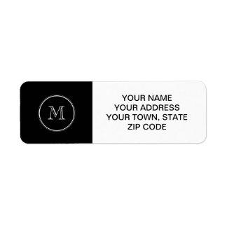 Avslutar den initiala svart kicken för Monogram Returadress Etikett