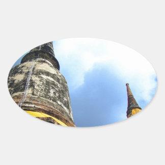 Ayutthaya. Wat Yai Chai Mongkol. Ovalt Klistermärke