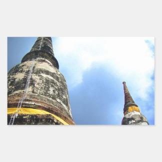 Ayutthaya. Wat Yai Chai Mongkol. Rektangulärt Klistermärke