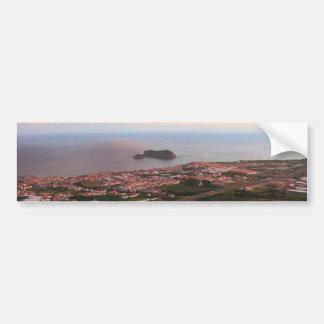 Azorean town på solnedgången bildekal