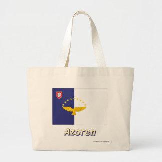 Azoren Flagge mit Namen Tote Bags