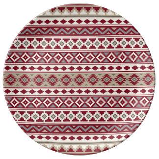 Aztec extrakt Ptn röda IIb grånar den kräm- sanden Porslinstallrik