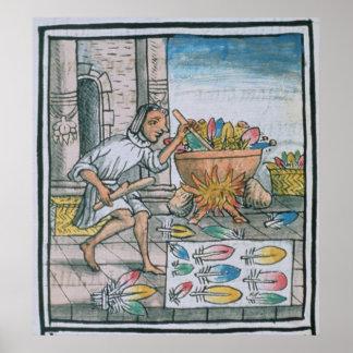Aztec hantverkare som färgar fjädrar affisch