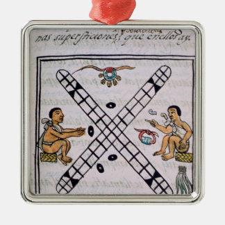 Aztec manar som spelar Patoli Julgransprydnad Metall