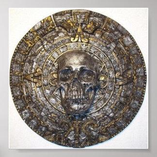 Aztec/Mayan kalender med skalleaffischen Poster