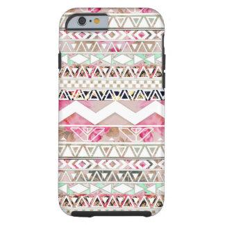 Aztec mönster för flickaktigt rosa tough iPhone 6 fodral