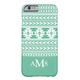 Aztec mönster för grön Monogram Barely There iPhone 6 Fodral