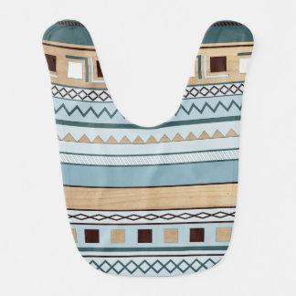 Aztec mönster i blått- och träkorn hakklapp