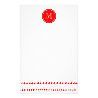 Aztec pilMonogram för röd vit Brevpapper